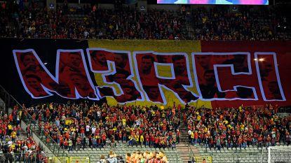 Belgische fans bedanken Rode Duivels met reuzenspandoek