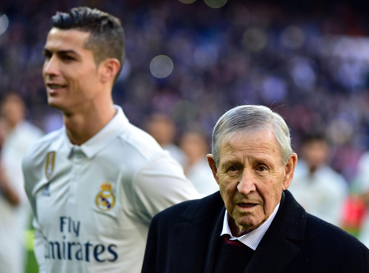 Raymond Kopa, niet lang voor zijn overlijden, naast Cristiano Ronaldo.