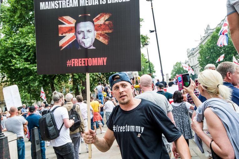 Demonstratie voor de vrijlating van Tommy Robinson in Londen. Beeld LightRocket via Getty Images