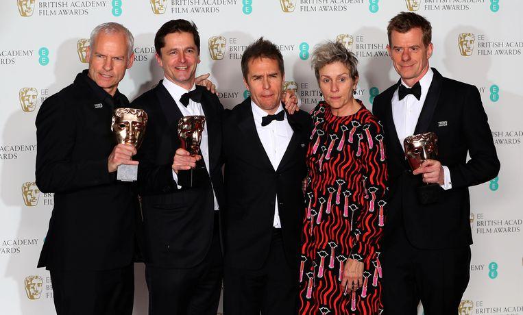 Martin McDonagh, Peter Czernin, Sam Rockwell, Frances McDormand en Graham Broadbent.