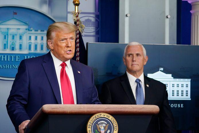 Donald Trump tijdens zijn toespraak vandaag.