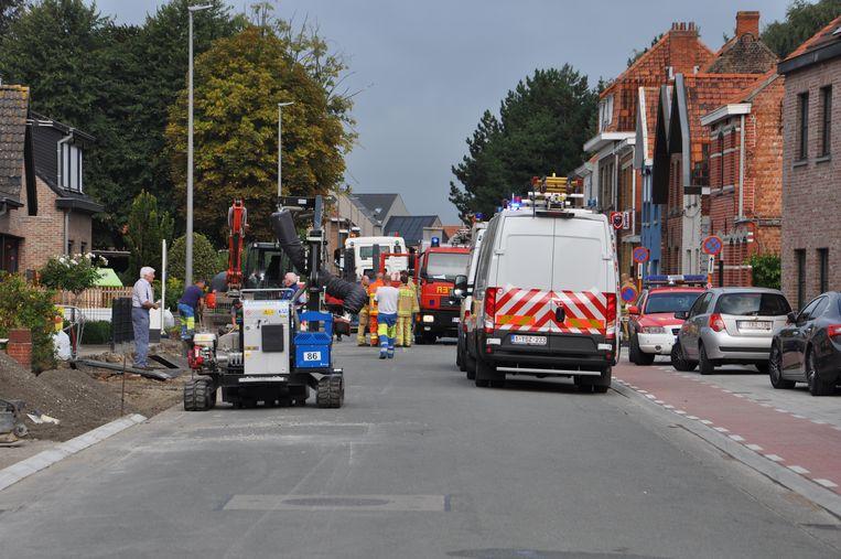 De Molenstraat in Waarschoot werd volledig afgesloten voor een gaslek