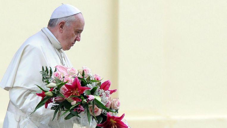 Paus Franciscus op de Italiaanse oorlogsbegraafplaats Redipuglia. Beeld epa