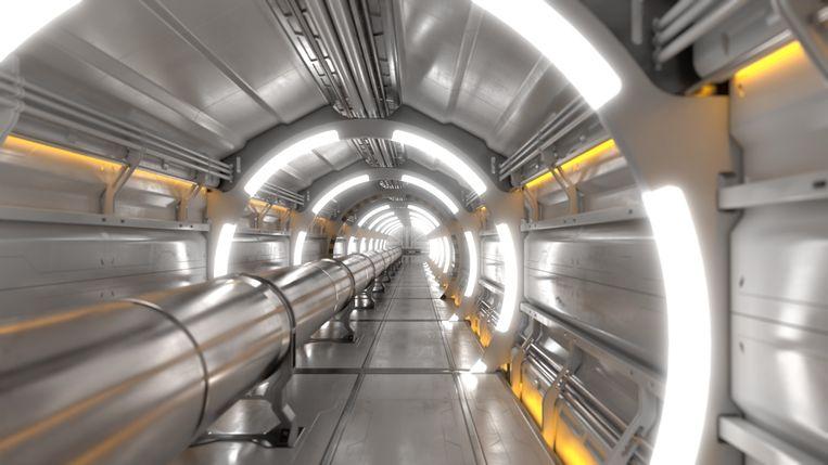 Zo gaat het binnenste van de Future Circular Collider eruitzien, de opvolger van de deeltjesversneller Large Hadron Collider bij fysica-instituut Cern. Het apparaat moet nog onbekende uithoeken van de natuurkunde in kaart brengen.  Beeld Cern