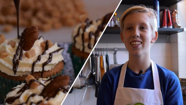 Baktalent Jaroah (13) bakt cupcakes op bestelling
