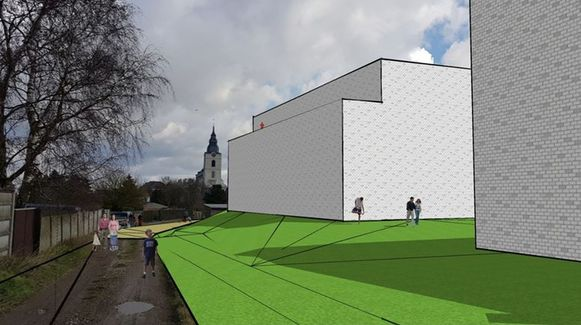 Een simulatie opgesteld door de indieners van de bezwaren. Het zicht naar de Sint-Gorgoniuskerk toe.