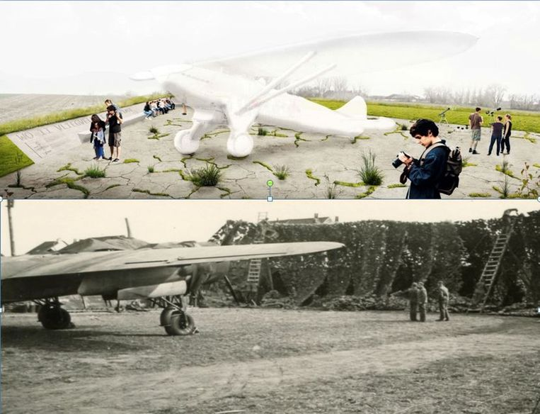 Een aviole met replica van een vliegtuig en een beeld uit WOII van zo'n open bunker