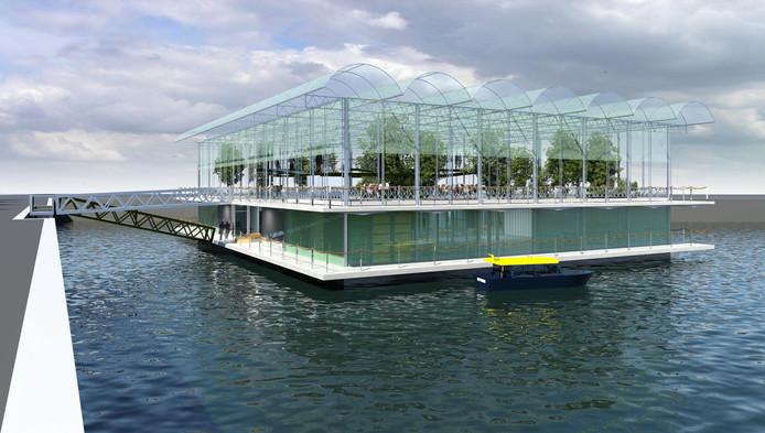 De drijvende boerderij zoals die in de Merwehaven moet komen.