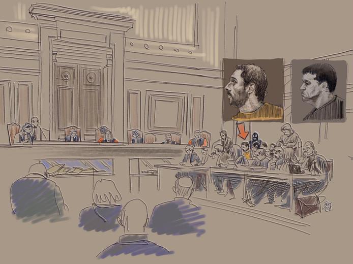 Nemmouche et Bendrer dans le tribunal lors du procès.