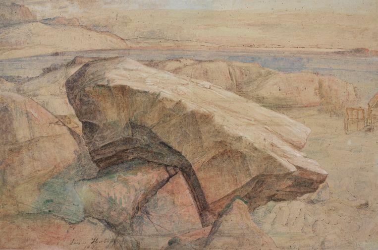 'Kustlandschap met een grote rots op de voorgrond', Lars Hertervig. Beeld Collectie Stavanger Kunstmuseum