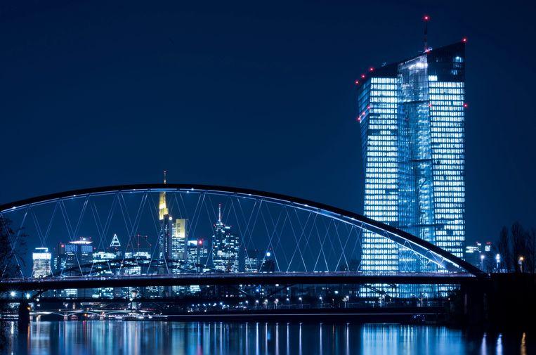 Het hoofdkwartier van de Europese Centrale Bank in Frankfurt. Beeld EPA