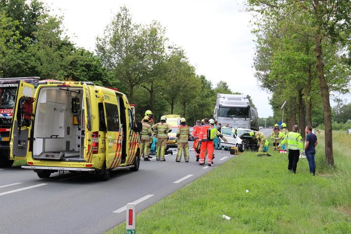 Ongeluk op de N224 in Scherpenzeel.