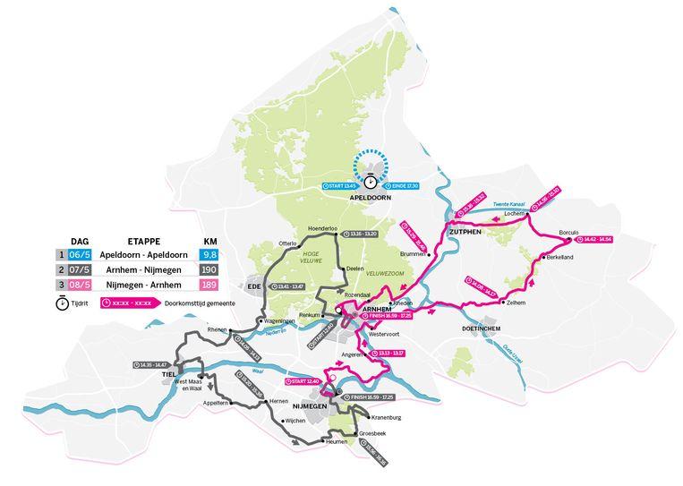 De route van de Giro d'Italia in Gelderland. Beeld null