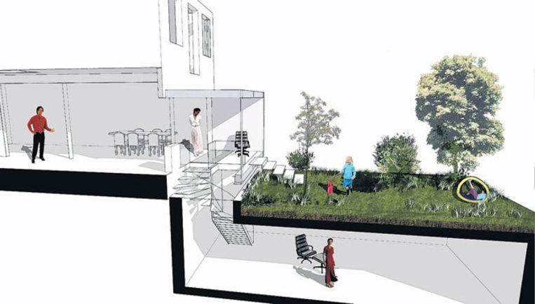Links het bestaande huis, rechts de kelder, midden de kamerverlenging.Illustratie id architecten Beeld