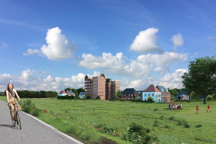 Zicht op Heesterburgh vanaf de dijk langs de Maas.