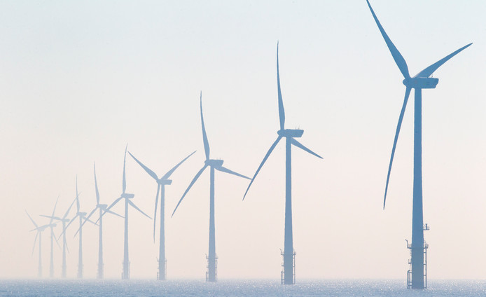 Windturbines in het offshore windpark Egmond aan Zee.