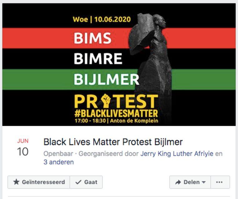 Facebook-aankondiging van het nieuwe anti-racismeprotest in de Bijlmer. Beeld Screenshot Facebook.
