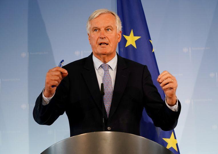EU-hoofdonderhandelaar Michel Barnier vandaag tijdens een persconferentie in Berlijn.