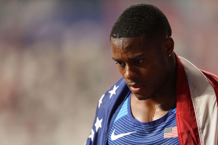 Christian Coleman tijdens de wereldkampioenschappen atletiek in 2019.  Beeld Getty Images