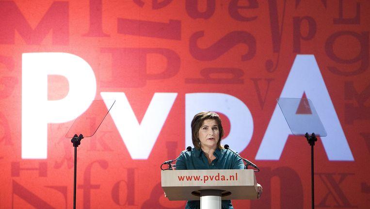 Partijvoorzitter Lilianne Ploumen tijdens een PvdA-congres in Nijmegen. Beeld anp