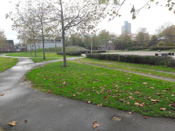 Het Lumenpark met op de achtergrond het te slopen gebouwtje van de grondwatersanering.