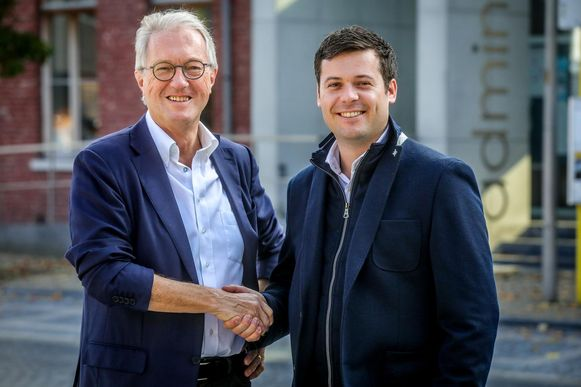 Burgemeester Jan Bekaert (WIT) en eerste schepen Lieven Cobbaert (Liberaal 2018)