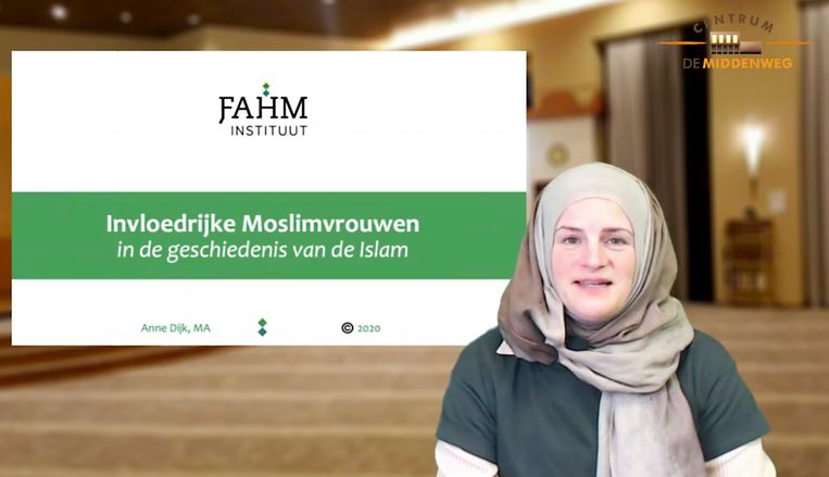 Anne Dijk, islamoloog en voorzitter van het Fahm Instituut. Beeld Screenshot Facebook