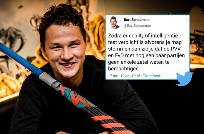 VVD-raadslid Bart Schopman zorgde voor ophef met een denigrerende tweet over PVV en FvD.