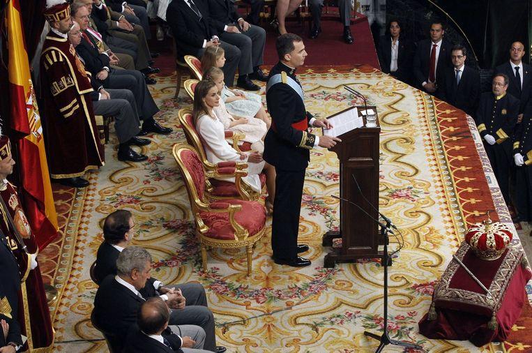 Koning Felipe in het Spaanse parlement tijdens zijn inhuldiging. Beeld epa