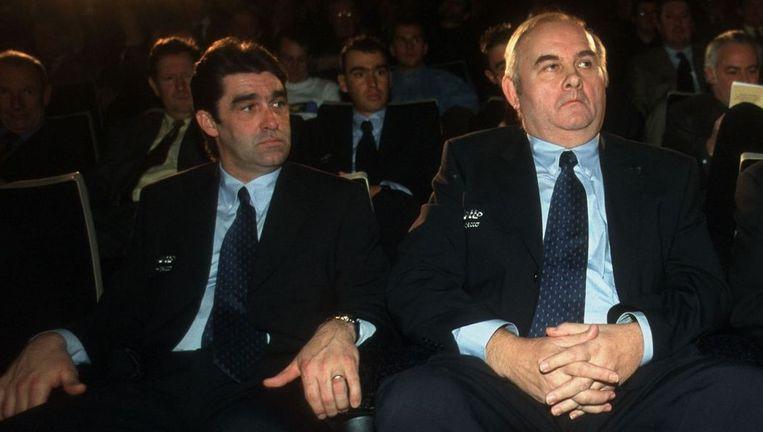 Jef Braeckevelt in 2000 met Claude Criquielion op de ploegvoorstelling van Lotto-Adecco.