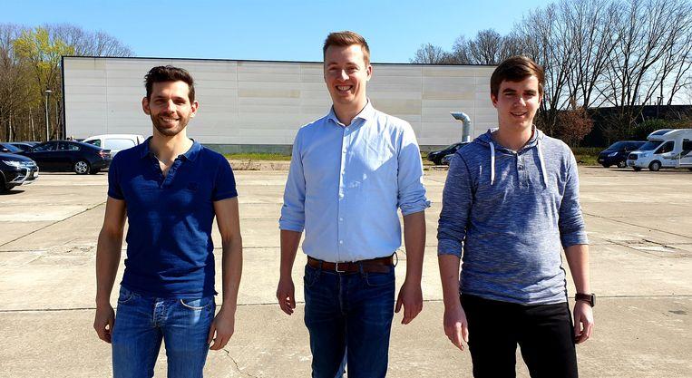 Maarten Hens, Hannes Anaf en Peter Schildemans op de site.