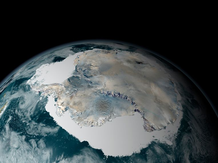Antarctica, gezien vanuit de ruimte.