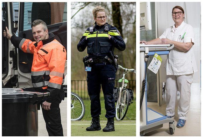 Vuilnisman Jeroen, agente Lianne en verpleegkundige  Kim: deze Tukkers zijn van levensbelang deze weken