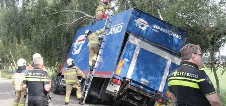 Vrachtwagen belandt in sloot Nijkerk
