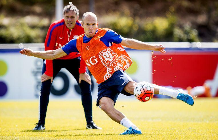 Robben begin september op een training van Oranje. Beeld anp