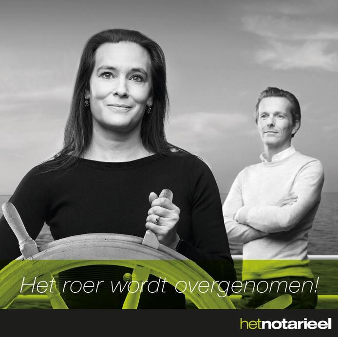 Marina Stokroos neemt het roer over van Gertjan IJzerman bij Het Notarieel, dat deze foto plaatste op Facebook.
