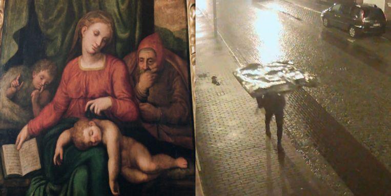 De dief heeft zeker tien minuten met het schilderij op zijn hoofd door het centrum van Zele gelopen.
