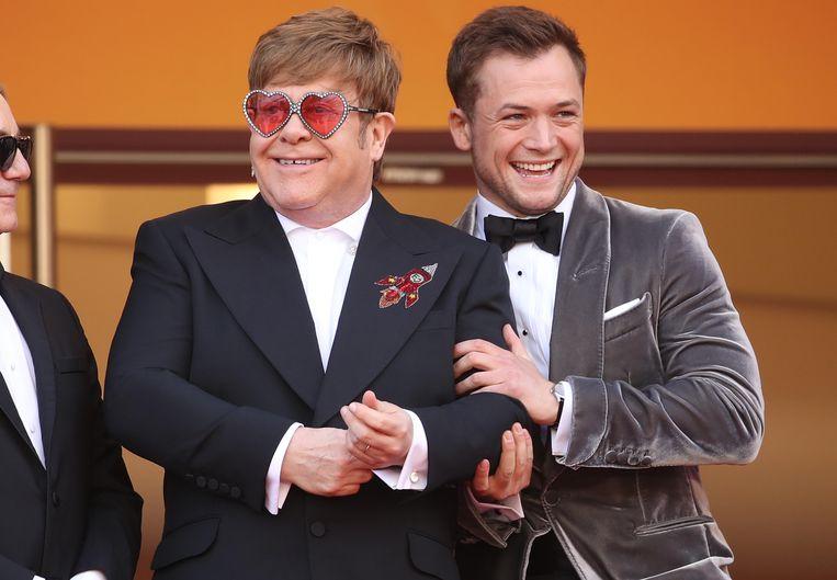 Sir Elton John en Taron Egerton tijdens de screening van de film Rocket Man op het filmfestival in Cannes.  Beeld Mike Marsland/WireImage