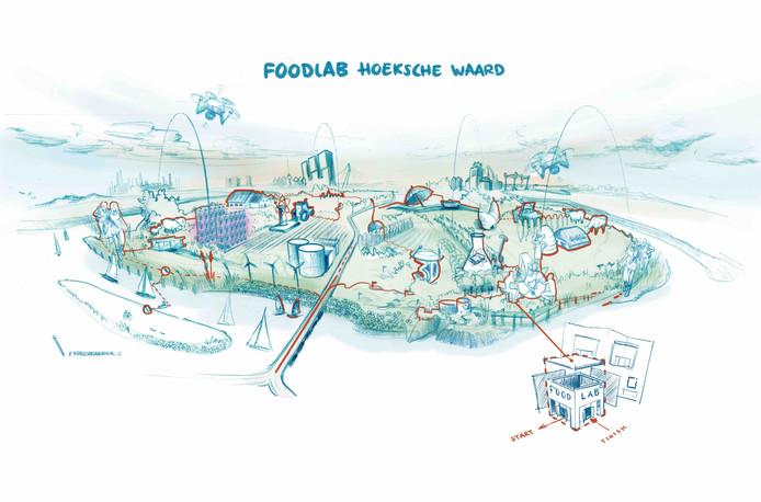 Architectenbureau RoosRos maakte deze schets van het Foodlab Hoeksche Waard.