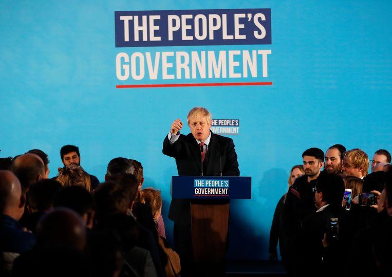 Boris Johnson houdt vrijdag een overwinningsspeech.  Beeld AP