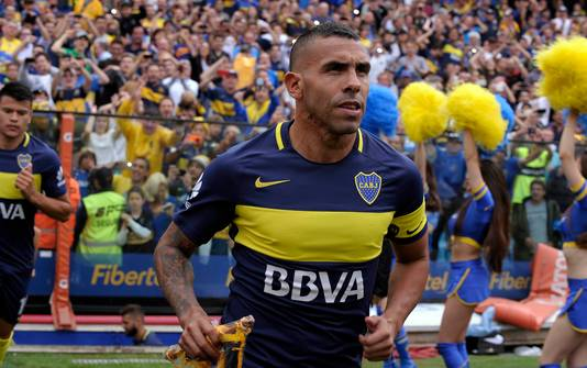 Carlos Tévez in het shirt van Boca Juniors.