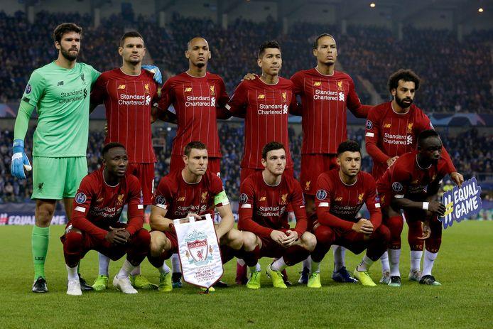 De basiself van Liverpool voor de Champions League-wedstrijd tegen Racing Genk twee weken geleden.