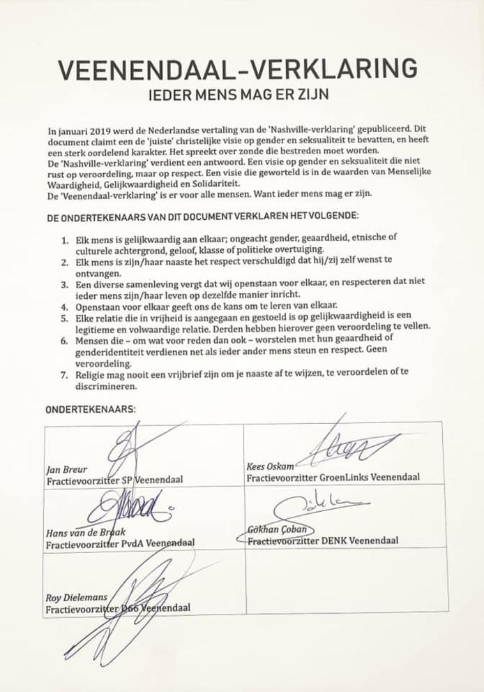 De zogenoemde 'Veenendaal-verklaring'.