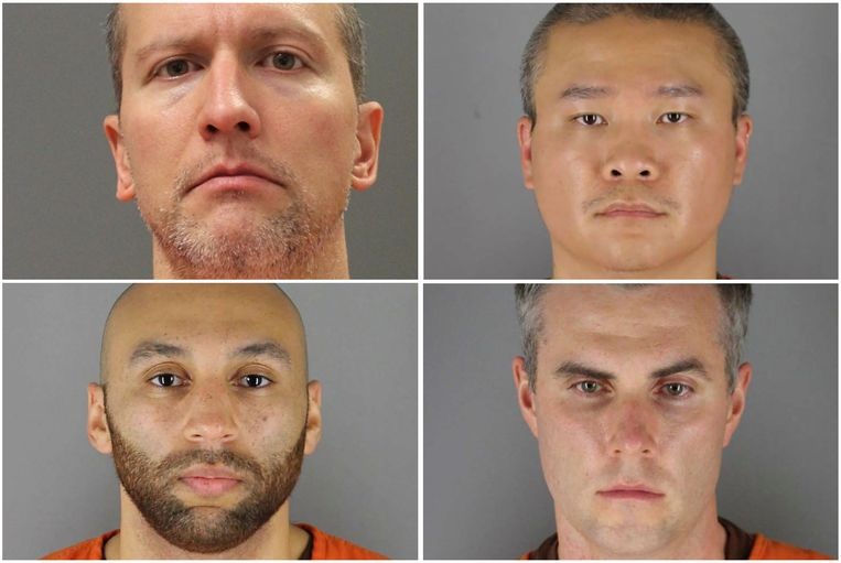 De vier agenten die na de arrestatie en dood van George Floyd werden ontslagen: Derek Chauvin, Tou Thao, J. Alexander Kueng en Thomas Lane.