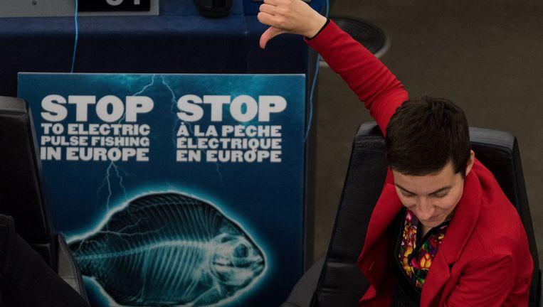 Europarlementariër Ska Keller (de Groenen) toont een affiche tegen elektrisch vissen tijdens het debat van dindag; een ruime meerderheid bleek voor een verbod. Beeld null