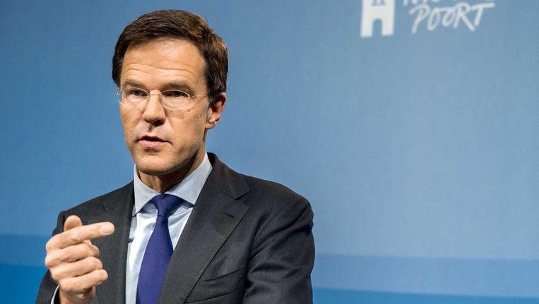 Premier Mark Rutte vrijdag in zijn wekelijkse persconferentie. Beeld anp