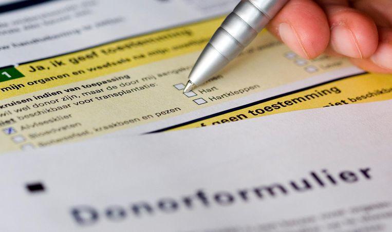 Het (verouderde) donorformulier voor donorregistratie. Beeld anp