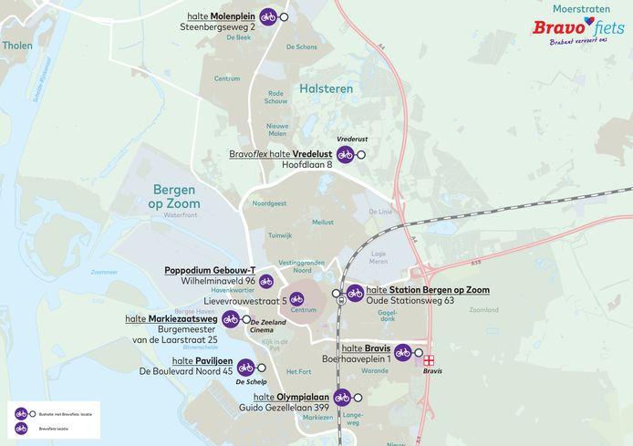 Overzicht Bravofiets Bergen op Zoom