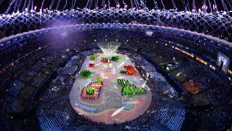 De sluitingsceremonie van de Olympische Spelen in Rio de Janeiro. Beeld anp