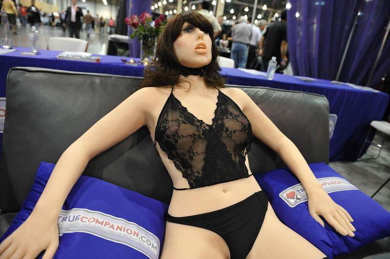 Een seksrobot bij een entertainmentbeurs in Las Vegas. Beeld AFP